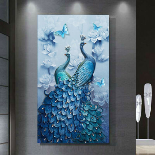 Diamond Painting Diy 5d Embroidery Stitch Cross Decor Peacock Kit Home Craft New