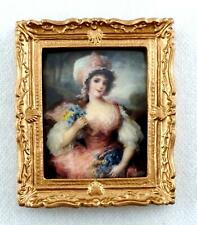 Dolls House Lady Sewing Picture Falcon Miniature Painting in Double Gold Frame