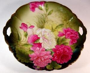 Hutschenreuther-Tirschenreuth-Pierced-Handle-Cake-Plate-w-Pink-amp-White-Peonies