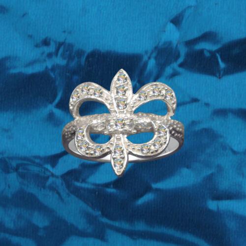 Exklusiver Bourbonen Lilien Ring Echt 925 Sterling Silber Zirkonia Strass
