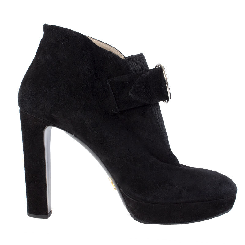 40969 auth PRADA black suede leather Platform Ankle Boots Shoes 39