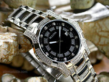 Bulova 96B176 Crystal Collection Black Dial Stainless Steel Men's Watch