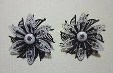 Vintage Black White Rhinestone Flower Western Germany Plastic Clip On Earrings