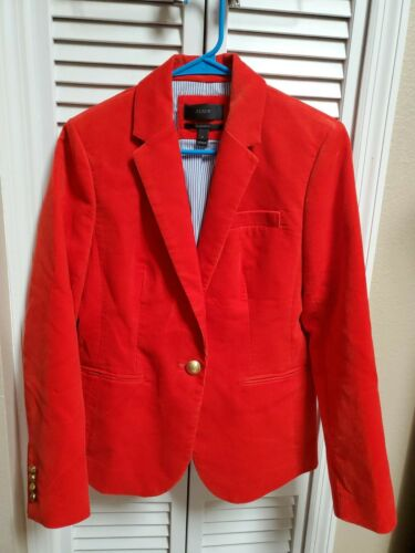 J.CREW Campbell red Corduroy Blazer Jacket SZ. 6 c