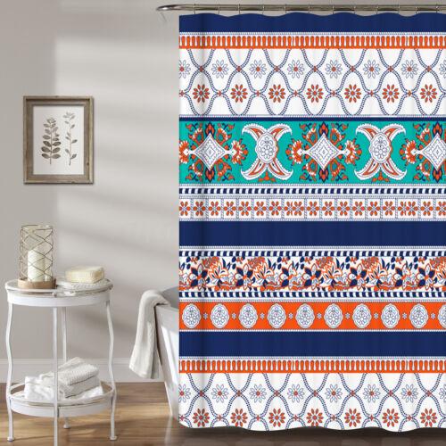 Bohemia Style Printing Bathroom Shower Curtain Toilet Cover Mat Non-Slip Rug Set