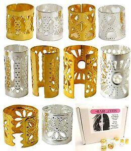 10-Anello-treccia-polsini-regolabili-Argento-e-Oro-Perline-Anelli-Clip-Dread-TUBI