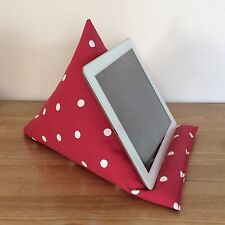 Tablet pillow iPad stand, red and white spot smartphone kindle E-reader cushion