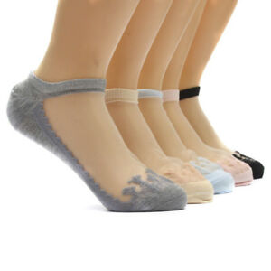Women-Sexy-Ultrathin-Transparent-Crystal-Silk-Lace-Elastic-Short-Ankle-Socks-New