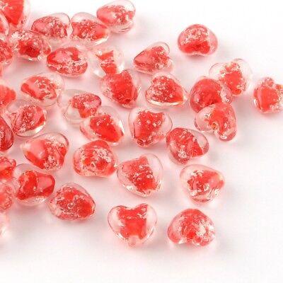 10 x Orange Glow in the Dark Luminous Heart Beads  16mm  Lampwork Glass