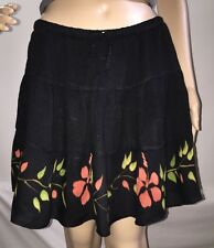 Fortune Cookie Red And Black Sexy Floral Mini Skirt 100% Rayon BOHO - Medium