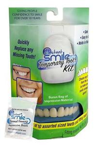 INSTANT SMILE TEETH REPLACEMENT KIT W 2 PKGS EX BEADS easy replace missing tooth