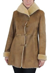 4a5959966 S/Small NEW! - BEIGE FITTED, RAW EDGE SHEARLING JACKET COAT, BLUE ...