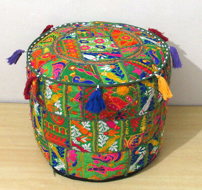 """18"""" Ottoman Pouf Cover Indian Patchwork Handmade Cotton Pouffe Stool Decor Round Furniture"""