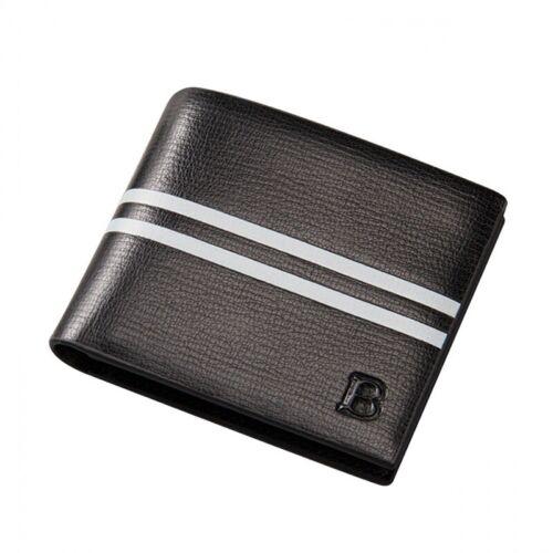 Men/'s Slim Thin Black Leather Wallet Money Photo ID Credit Debit Card Holder UK