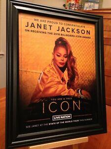 2 Big 10x13 Framed Janet Jackson 2018 Icon Award Tribute Lp Album