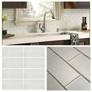 Details about Pearl White Crystal Glass Subway Tile For Kitchen Bath  Backsplash Wall 3\