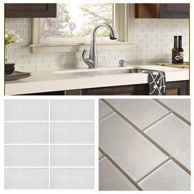 Pearl White Crystal Glass Subway Tile For Kitchen Bath Backsplash Wall 3\