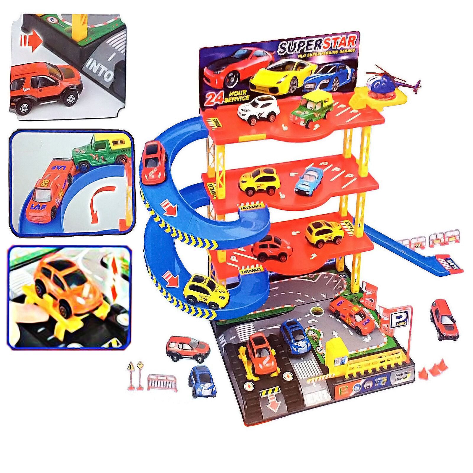 4 LEVEL KIDS PARKING GARAGE W  DIECAST CARS HELICOPTER SET IN OUT DOOR XMAS GIFT
