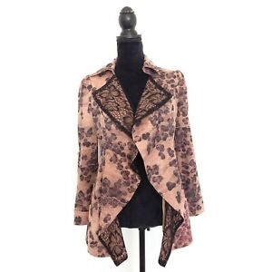Womens-Brown-Black-Size-S-Lace-Patterned-Open-Blazer-Jacket-Pockets