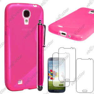 Housse-Etui-Coque-Silicone-Rose-Samsung-Galaxy-S4-i9500-Stylet-3-Films