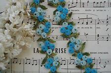 VINTAGE SCHIFFLI AQUA BLUE FLOWER VENISE LACE TRIM APPLIQUE RIBBON FRENCH DOLL