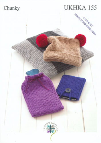 Easy Knit Hat Cushion Hot Water Bottle Tablet Covers Knitting Pattern UKHKA 155