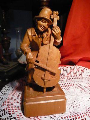 Ganz Tolle Alte Holzskulptur Musiker Contrabass Cello Straßenmusik 18 Cm Hoch
