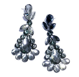 Chandelier-Earrings-Rhinestone-Bridal-Prom-Pageant-Crystal-2-9-inch-Gray-Drag