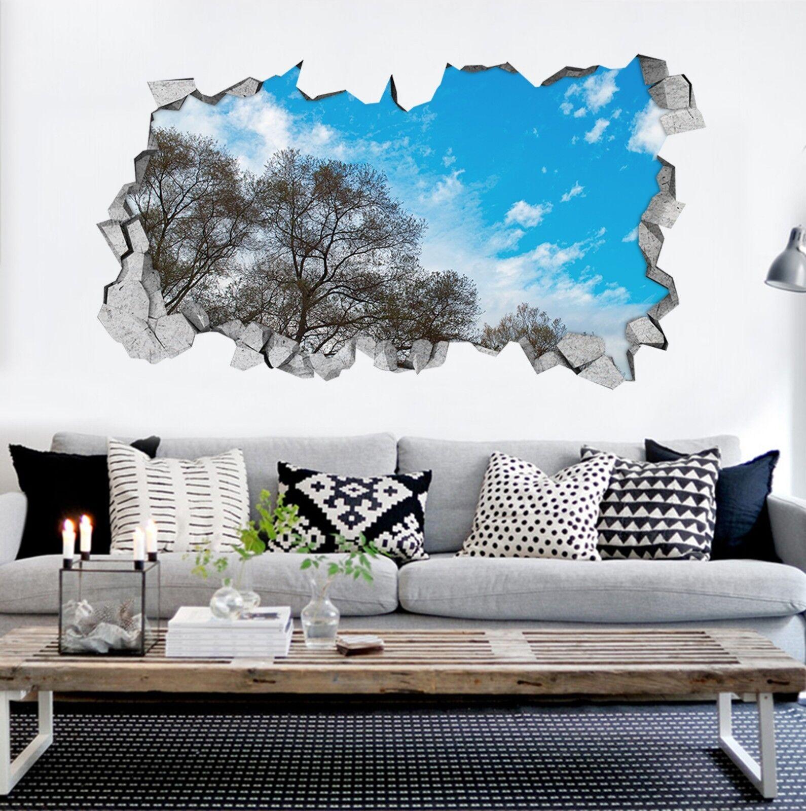 3D Alberi Cielo Blu 311 Parete Murales Adesivi Decal Sfondamento AJ WALLPAPER IT