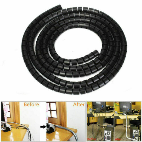 2M Spiral Cable Wrap Hide Cord 10//25mm Organizer /& Management Wire Banding Tool