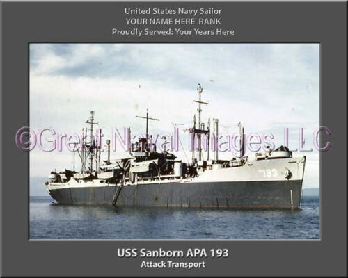 USS Sanborn APA 193 Personalized Canvas Ship Photo Print Navy Veteran Gift
