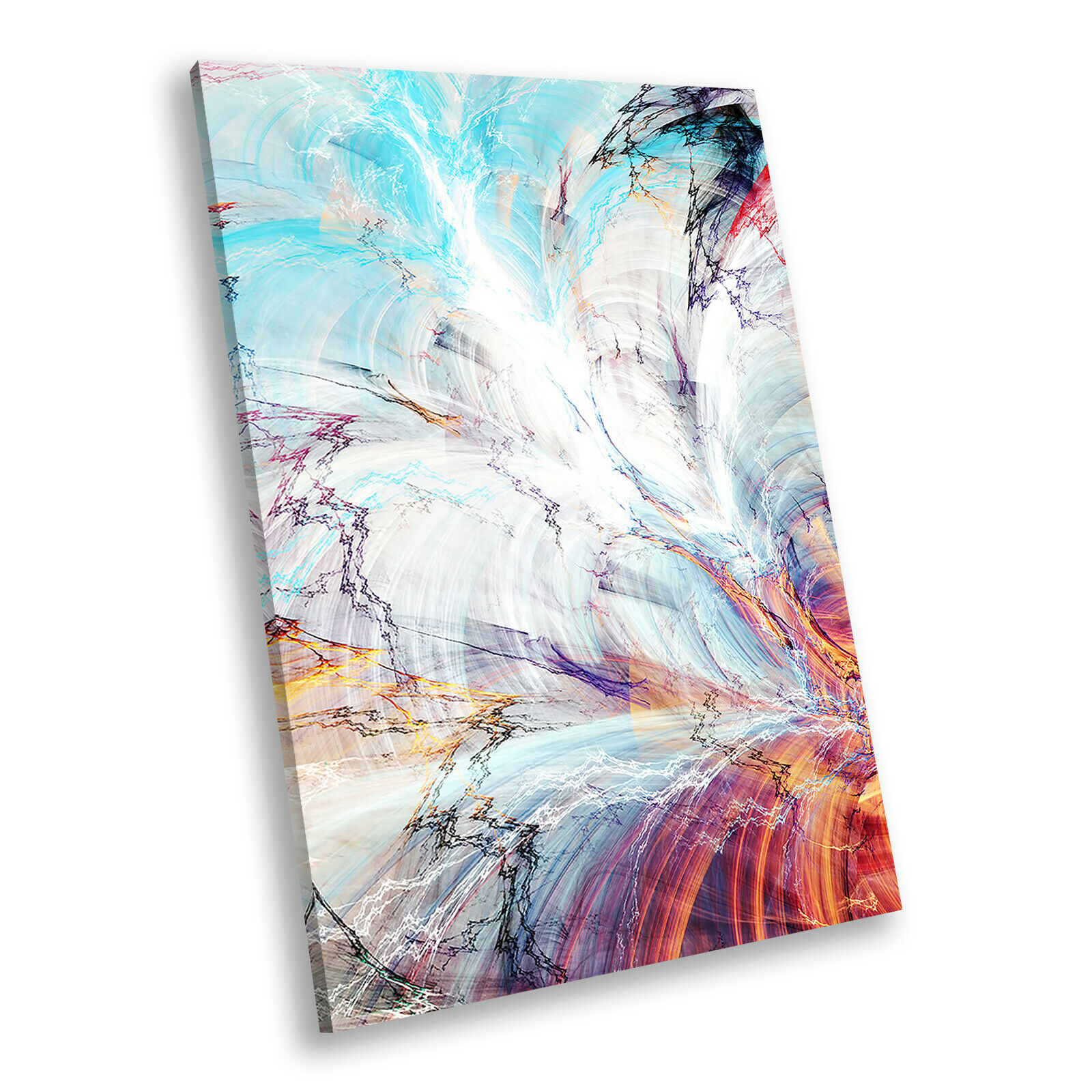 Blau Orange lila Portrait Abstract Canvas Framed Art Large Picture