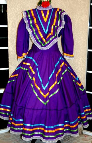 5 de mayo Authentic Jalisco Mexican Dance Dress Folklorico Rodeo Adult Purple