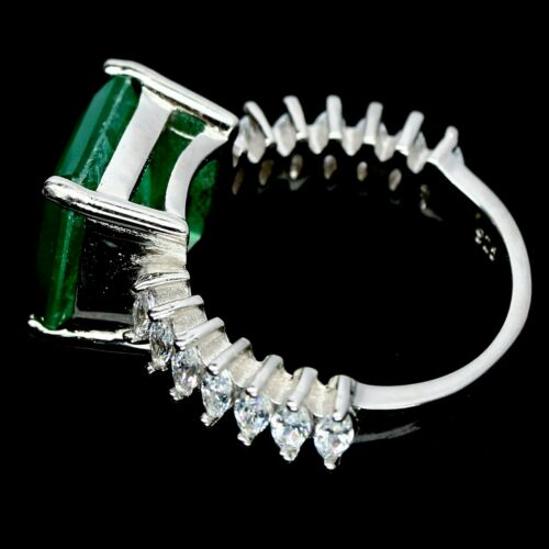 FOREST GREEN DOUBLET EMERALD /& WHITE CZ RING 925 STERLING SILVER
