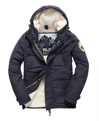 New Mens Superdry Military Everest Coat Charcoal