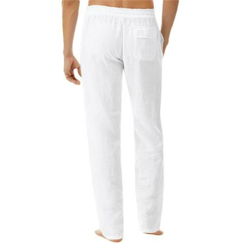 Mens Summer Cotton Linen Pants Yoga Drawstring Loose Elasticated Trouser Casual
