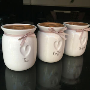 Details About Large Tea Coffee Sugar Ceramic Canisters Engrved Heart Kitchen Storage Jars Set