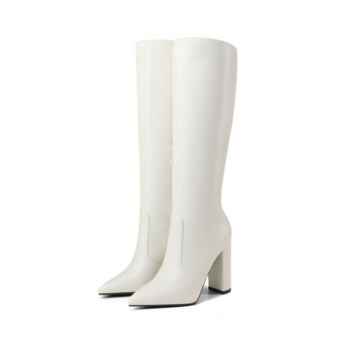 Details about  /Women/'s Punk Pointy Toe Block High Heel Mid Calf Knee High Knight Riding Boots L