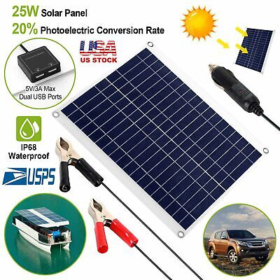 25W Solar Panel 12V Off Grid Battery Charger Outdoor for Car RV Boat Waterproof | eBay