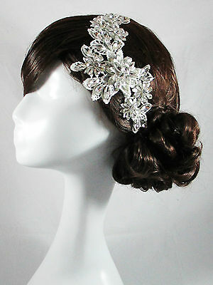 WEDDING BRIDAL HEAD PIECE CRYSTAL LACE VINTAGE HEAD BAND HAIR ACCESSORIES SATINE