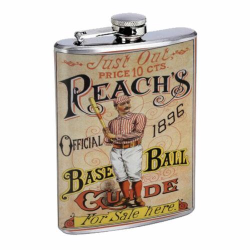 Vintage Baseball D4 8oz Hip Flask Stainless Steel Sports Baseball Player