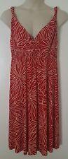 Metro7 Red Cream Floral Print Sleeveless Empire Waist Mid-Length Dress Size XL