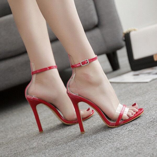 Sandali stiletto spillo 12 cm rojo pelle sintetica comodi eleganti  cw993