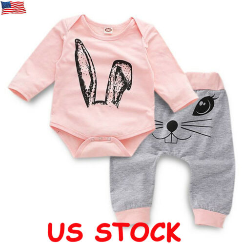 Newborn Kids Baby Girls Clothes Jumpsuit Romper Bodysuit Pants Leggings Outfits