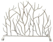 """FIREPLACE SCREENS - """"SHERWOOD FOREST"""" DECORATIVE FIRE SCREEN - ANTIQUE WHITE"""
