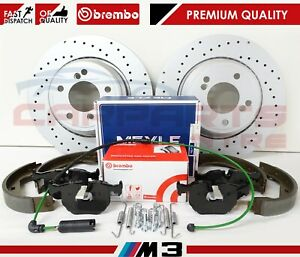 FOR-BMW-M3-E46-3-2-REAR-DRILLED-BRAKE-DISCS-BREMBO-PADS-SENSOR-SHOES-FITTING-KIT