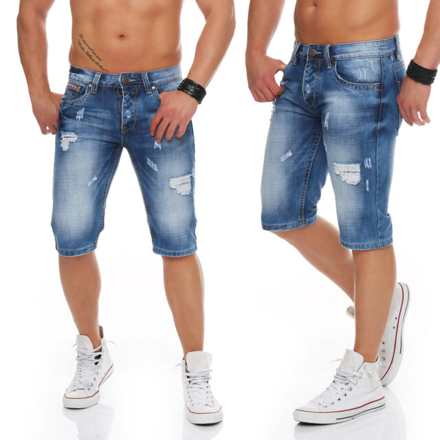 Kenzarro Jeans Short Bermuda Denim Style kurze Hose Capri Beach Destroyed