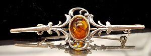 Vintage-Amber-Sterling-Silver-brooch