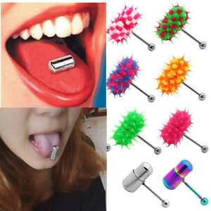 Image Is Loading Fashion Multicolor Vibrating Tongue Bar Ring Stud Body
