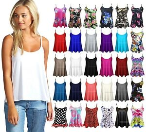 1807dd9a0ac New Womens Ladies Plain Sleeveless Swing Strappy Cami Vest Top Plus ...
